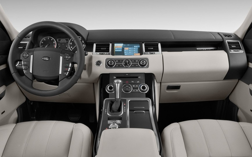 range rover sport with driver interior and wheel of the luxury car